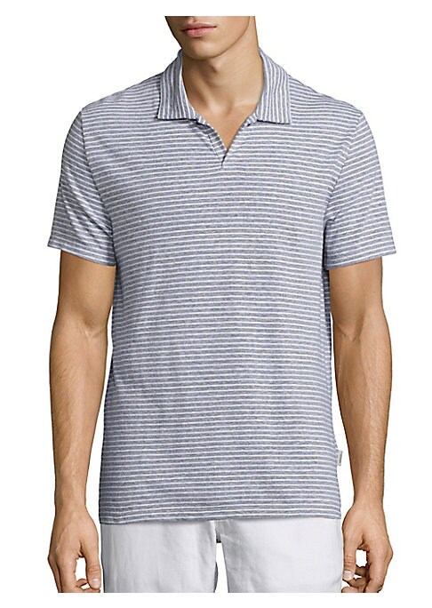 Image of Open placket polo rendered in nautical stripes. Polo collar. Short sleeves. Side vents. Pullover style. Linen/polyester. Machine wash. Imported.
