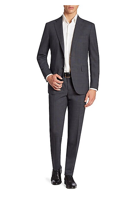 Image of Rich and classy wool-blend suit that features a single-breasted jacket and a pair of straight leg pants with coordinating plaid textures allover. Wool/elastane. Dry clean. Made in Italy. JACKET:.Notched lapels. Front two-button closure. Long sleeves with