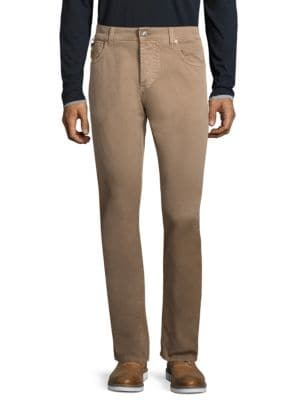 ISAIA Slim Straight Jeans - Beige, Tan Size 34