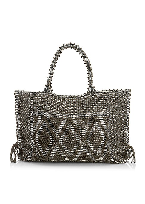"Image of Boho-chic handwoven tote with geometric pom-pom motif. Double top handles, 9"" drop. Top magnetic snap closure with side ties. One inside open pocket. Unlined.14""W X 12""H X 4""D.Organic cotton. Made in Italy."