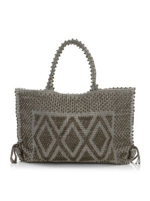 """Image of Boho-chic handwoven tote with geometric pom-pom motif. Double top handles, 9"""" drop. Top magnetic snap closure with side ties. One inside open pocket. Unlined.14""""W X 12""""H X 4""""D.Organic cotton. Made in Italy."""