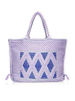 """Image of Boho-chic handwoven tote with geometric pom-pom motif Double top handles Top magnetic snap closure with side ties One inside open pocket Unlined 22.75""""W X 15""""H X 4""""D Organic cotton Made in Italy. Handbags - Contemporary Handbags > Saks Fifth Avenue. Anton"""