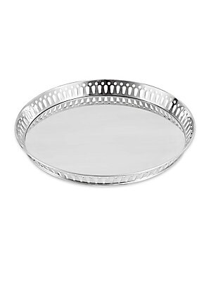 "Image of From the Crafthouse By Fortessa Collection. Gleaming stainless steel bar tray with geometric rim. Diameter, 15.5"" Stainless steel Hand wash Imported. Gifts - Barware > Saks Fifth Avenue. Crafthouse."