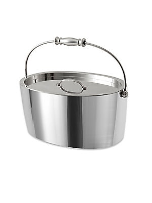 "Image of From the Crafthouse by Fortessa Collection. Sleek ice bucket in double-walled stainless steel. Includes lid Inside drain grate 7.5""W x 11.75""L x 5""D Stainless steel Hand wash Imported. Gifts - Barware > Saks Fifth Avenue. Crafthouse."