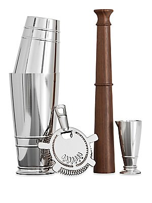 Image of From the Crafthouse by Fortessa Collection. Create exquisite shaken cocktails with this classic four-piece shaker set. Includes: Boston shaker, hawthorne strainer, jigger and muddler Wood/stainless steel Hand wash Imported. Gifts - Barware. Crafthouse.