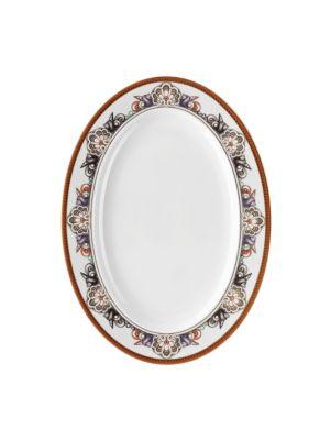 """Image of Elegant porcelain platter in oceanic motif. Diameter, 13.5"""".Porcelain. Dishwasher safe. Imported."""