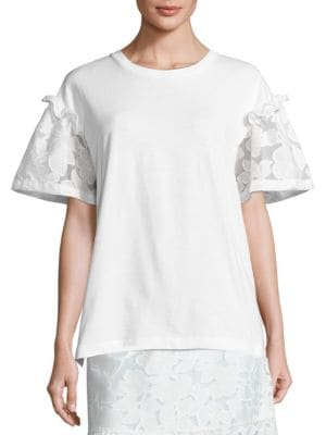 Rex Lace Sleeve Tee by Mother of Pearl