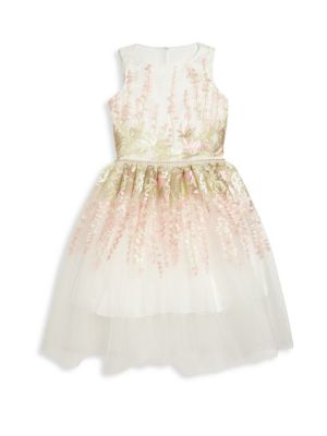 Girls Embroidered Tulle FitFlare Dress