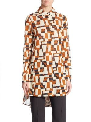 """Venetian Red, White and Black"""" Cotton Voile Blouse by Akris"""