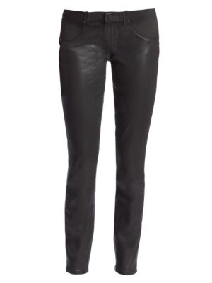 PAIGE MATERNITY Verdugo Coated Skinny Maternity Jeans in Black Fog Lux Coating