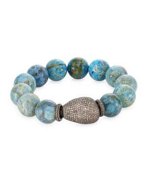 Bavna  Pavé Diamond & Agate Bead Bracelet