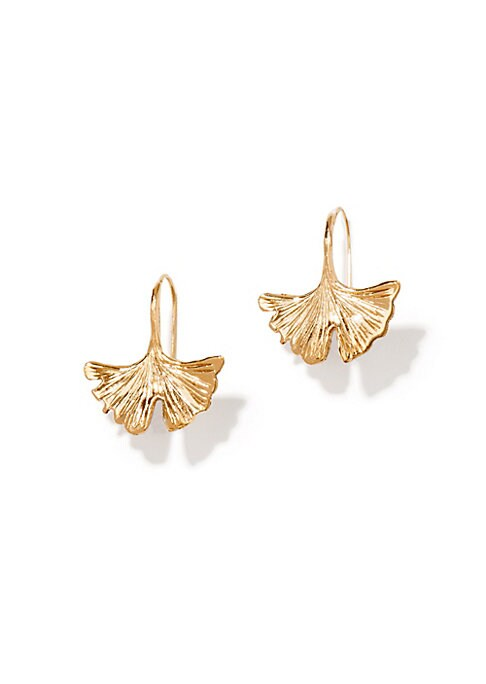 "Image of From the Tangerine Collection. Sculptural drop earring inspired by a Ginkgo leaf.18k goldplated brass. Drop, 1"".Ear wire. Made in France."
