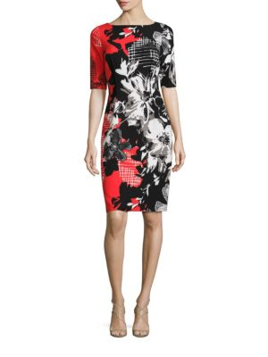Painterly Floral Printed Bodycon Dress