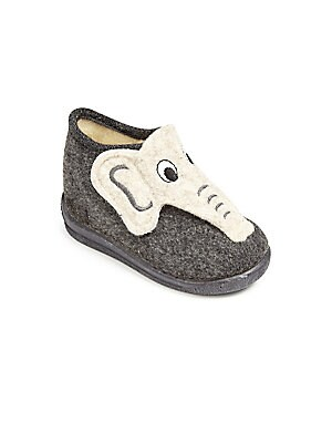 Image of These fabric elephant slippers are both adorable and comfortable Pull-on style Textile upper Fabric lining Synthetic sole Machine wash Made in Spain. Children's Wear - Children's Shoes > Saks Fifth Avenue. Cienta. Color: Dark Grey. Size: 19 (3.5 Baby).