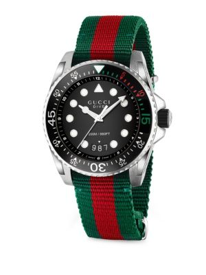 Dive Stainless-Steel And Canvas Watch in Green