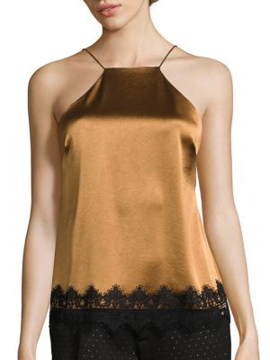 Lace Trimmed Satin Camisole by ABS