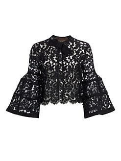fd3ec64dc138a Carolina Herrera. Classic Cotton Blouse.  590.00 · Icon Bell Sleeve Lace  Bolero BLACK. QUICK VIEW. Product image