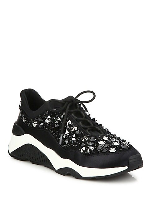 Image of From the Saks IT LIST. THE CHUNKY SNEAKER. Get your kicks in the sole that stormed the runways. Sporty silhouette dressed up with polished beads. Fabric upper. Beaded trim. Reinforced round toe. Lace-up vamp. Fabric lining. Rubber sole. Imported.
