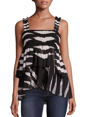 Lucea Tiered Smocked Tank Top by Tory Burch
