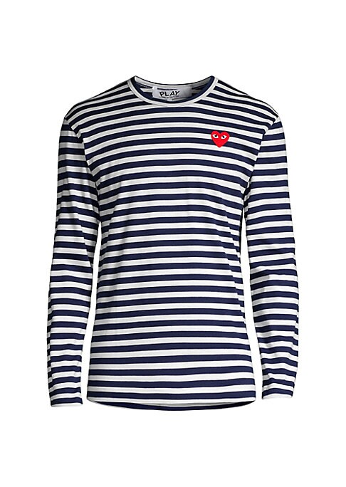 Image of An embroidered logo patch styles this striped tee. Roundneck. Long sleeves. Pullover style. Cotton. Machine wash. Imported.