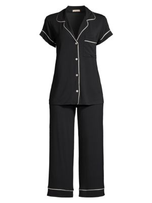 "Image of Stylish pajama set featuring short sleeve shirt and a matching pants for an ultimate lounging experience. Modal/spandex. Hand wash. Imported. .Short sleeve shirt:.Notch lapels. Front button closure. Short sleeves. Chest patch pocket. About 26"" from should"