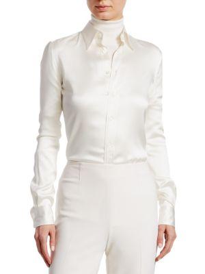 Ralph Lauren Iconic Style Cindy Long Sleeve Shirt In Cream