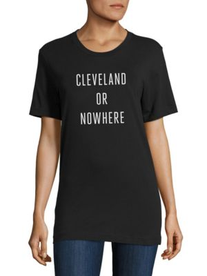 KNOWLITA Cleveland Or Nowhere Cotton Graphic Tee in Black White