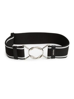 "Image of Elasticized belt with polished interlocking clasp.1""W X 30""L.Clasp closure. Elastane. Trim: Leather. Made in Italy."