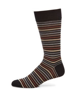 Image of Pima cotton socks detailed with multicolor stripes. Pima cotton. Machine wash. Made in Italy.