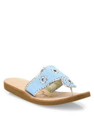 Image of Casual canvas slide with whipstitch metallic trim. Canvas upper. Metallic leather trim. Slip-on style. Leather lining. Rubber sole. Made in USA.