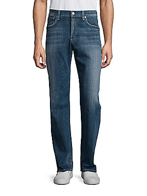 "Image of Faded jeans stylized with faded whiskers Belt loops Zip fly with button closure Five-pocket style Rise, about 10"" Inseam, about 34"" Cotton/elastane Machine wash Made in USA. Men Adv Contemp - Contemp Denim And Bottom > Saks Fifth Avenue. Citizens of Human"