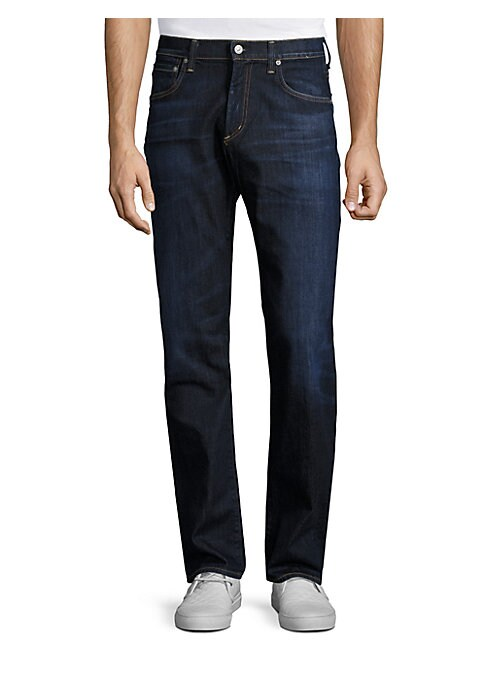 "Image of Cool straight-fitting jeans offer a comfortable fit. Belt loops. Zip fly with button closure. Five-pocket style. Rise, about 10"".Inseam, about 34"".Cotton/polyurethane. Machine Wash. Made in USA."