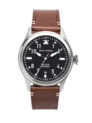JACK MASON Aviation Stainless Steel & Italian Leather Strap Watch in Black/ Silver/ Brown