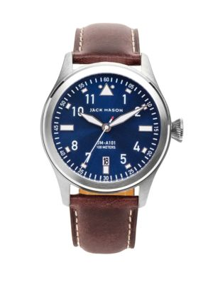 JACK MASON Aviation Stainless Steel & Italian Leather Sunray Dial Strap Watch in Silver/ Navy/ Dark Brown