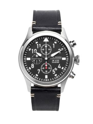 Jack Mason Aviation Stainless Steel & Italian Leather Chronograph Strap Watch