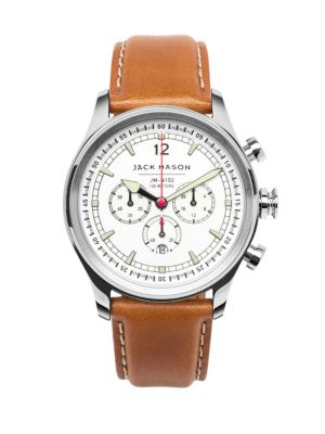 Jack Mason Nautical Stainless Steel & Italian Leather White Dial Chronograph Strap Watch