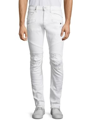 HUDSON Men'S Blinder Biker Distressed Skinny Jeans, Extracted (White) in Extracted White