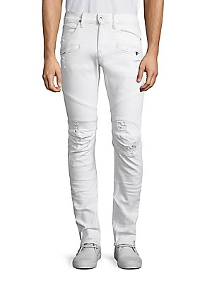 """Image of Skinny fit jean with moto detail at knee and light destruction Front zip pockets Rise, about 10"""" Leg opening, about 13"""" Inseam, about 34"""" Cotton/polyester/elastane Machine wash Imported. Men Adv Contemp - Contemp Denim And Bottom. Hudson Jeans. Color: Bar"""