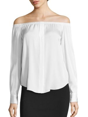 Off-the-Shoulder Silk Blend Top by DKNY