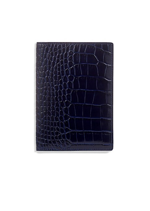 "Image of Chic passport cover in croc-embossed leather. Two inside slip pockets.4""W x 5.5""H.Embossed leather. Made in Italy."