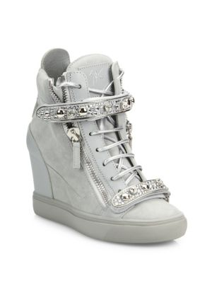 d78058b6f2e Giuseppe for Jennifer Lopez 75 Double-Zip Crystal-Strap Suede Wedge Sneakers