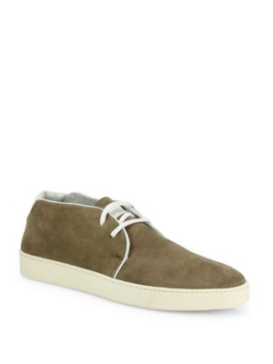 Image of Fashionable suede chukka boots with contrast edges. Suede upper. Lace-up closure. Leather lining. Rubber sole. Made in Italy.