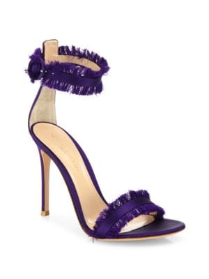 "Image of Sultry satin ankle-strap sandal with frayed trim. Self-covered heel, 4.13"" (105mm).Satin upper. Open toe. Adjustable ankle strap. Leather lining and sole. Made in Italy.>"