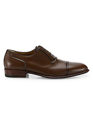 Image of Glossy leather derby shoes with perforated trims Leather upper Lace-up style Leather lining Rubber sole Made in Italy. Men's Shoes - Mens Classic Footwear. A. Testoni. Color: Coffee. Size: 13.