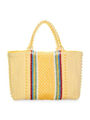 """Image of EXCLUSIVELY AT SAKS FIFTH AVENUE. Boho-chic beach tote with multicolor pom-pom stripes. Double top handles, 8"""" drop. Magnetic snap-tab closure. One inside open pocket. Unlined.17.75""""W X 12.5""""H X 4""""D.Organic cotton. Made in Italy."""