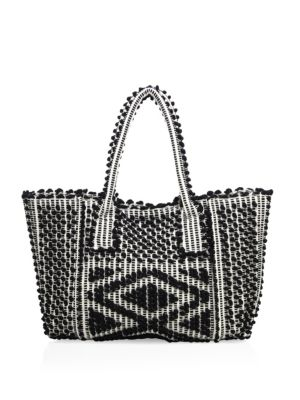 """Image of Boho-chic trapeze tote with allover pom-pom motif. Double top handles, 9"""" drop. Top magnetic snap closure. One inside open pocket. Unlined.15""""W X 12""""H X 3.5""""D.Organic cotton. Made in Italy."""