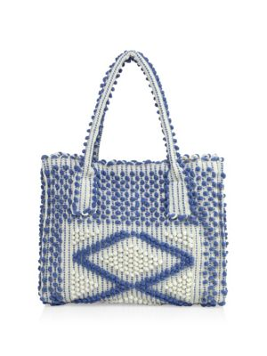 """Image of Slouchy boho-chic tote with geometic pom-pom motif. Double top handles, 7.75"""" drop. Magnetic snap closure. Three inside open pockets. One inside zip pocket. Organic cotton lining.15""""W X 11.5""""H X 6.5""""D.Organic cotton. Made in Italy."""