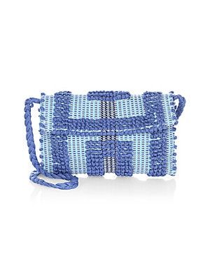 "Image of Beautifully textured crochet clutch with braided strap is vintage-inspired Strap drop, about 18"" Magnetic-flap closure Interior flap pocket 11""W x 9""H x 1""D Organic cotton Made in Italy. Handbags - Contemporary Handbags. Antonello Tedde. Color: Sky."