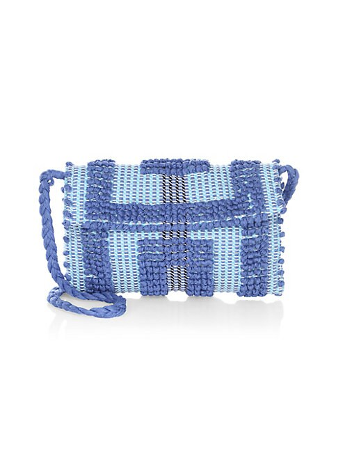 "Image of Beautifully textured crochet clutch with braided strap is vintage-inspired. Strap drop, about 18"".Magnetic-flap closure. Interior flap pocket.11""W x 9""H x 1""D.Organic cotton. Made in Italy."