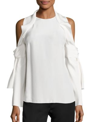 Solid Cold Shoulder Silk Top by 3.1 Phillip Lim